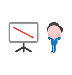 businessman with sales chart and arrow moving down vector image