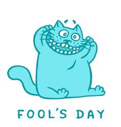 Cartoon cat makes crazy face fools day vector
