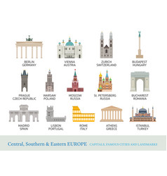 Central southern and eastern europe cities vector
