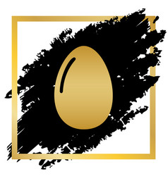 chicken egg sign golden icon at black vector image