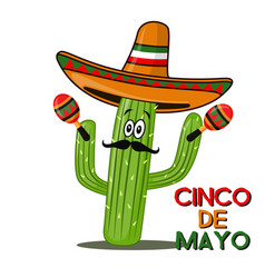 cinco de mayo sombrero chili pepper cactus and vector image