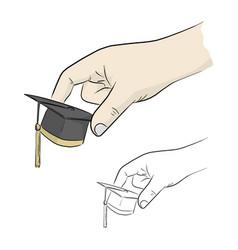 Close-up ahdn holding small graduation cap vector