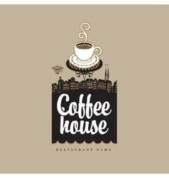 Coffee house with cup vector