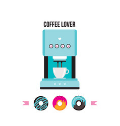 coffee machine and colorful delicious donuts vector image