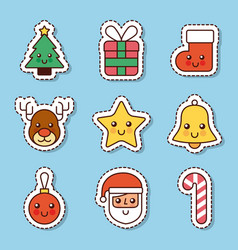 collection icons merry christmas celebration vector image