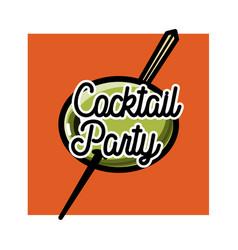Color vintage coctail party emblem vector