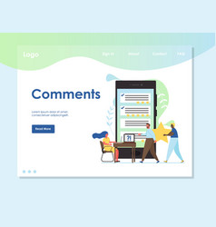 comments website landing page design vector image