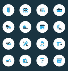 construction colorful icons set collection of tip vector image