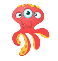 Cute red octopus alien monster cartoon vector