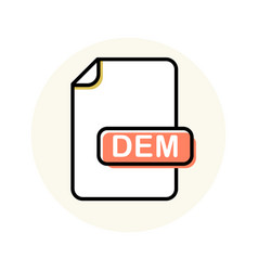 dem file format extension color line icon vector image