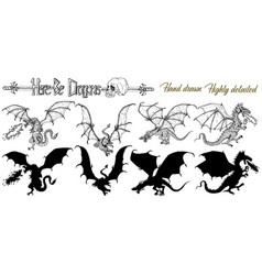 design set with hand drawn dragons vector image