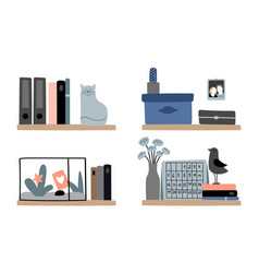 diverse bookshelves set vector image
