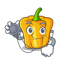 Doctor character ripe yellow pepper for cooking vector