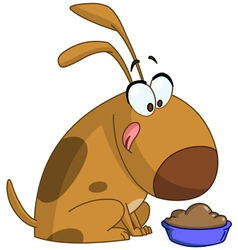 dog getting ready to eat vector image