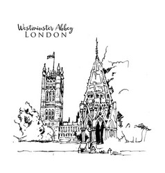drawing sketch westminster abbey vector image