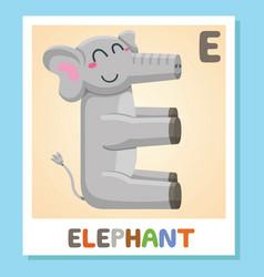 e is for elephant letter e elephant cute vector image