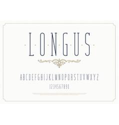 elegant stylish font modern condensed typeface vector image