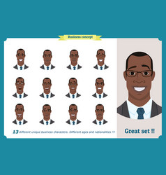 Face expressions of a man black american vector