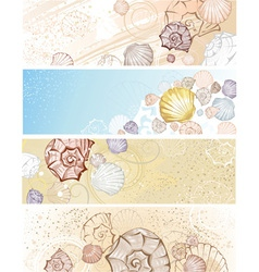 Four banner with seashells vector