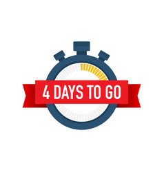 Four days to go time icon on white background vector
