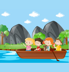 Four kids rowing boat along the river vector