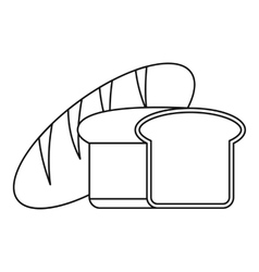 Fresh bread icon outline style vector image