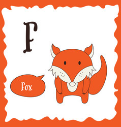 funny cartoon animals f letter cute alphabet for vector image