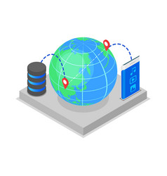 Global data storage isometric 3d icon vector