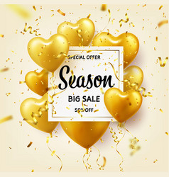 Golden balloons in heart shape season sale banner vector