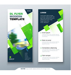 Green dl flyer design with square shapes vector