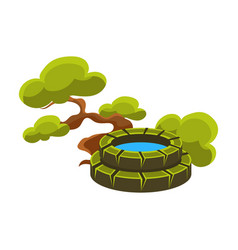 Green tree and well bonsai miniature traditional vector