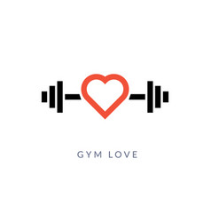 Gym heart logo icon sport gym love workout vector