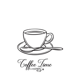 hand drawn coffe cup badge vector image