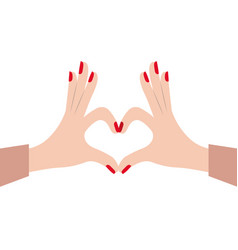 hands female forming a heart with her fingers on vector image