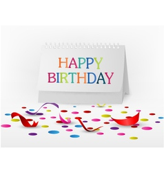 Happy birthday greetings card with note paper vector
