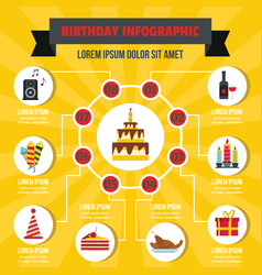Happy birthday infographic concept flat style vector