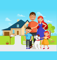 Happy family move into a new house flat vector