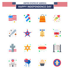 Happy independence day 4th july set 16 flats vector