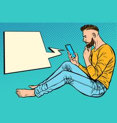 hipster man sitting on the floor and reading vector image