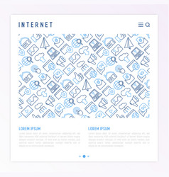 internet concept with thin line icons vector image