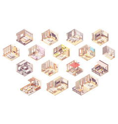 isometric home rooms vector image