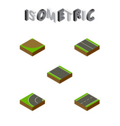 Isometric road set of driveway turn way and vector