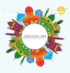 jerusalem israel skyline with color buildings vector image