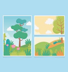 Landscape trees meadow bushes foliage nature vector
