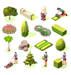 landscaping isometric icons vector image