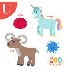 Letter U Cute animals Funny cartoon animals vector