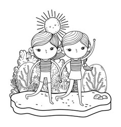 little kids couple in the garden characters vector image