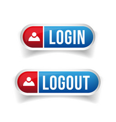 Login Logout button set vector