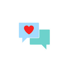 Love chat solid icon heart in speech bubble vector