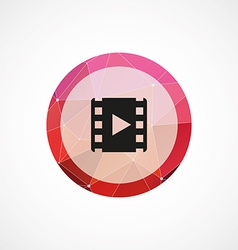 Media circle pink triangle background icon vector